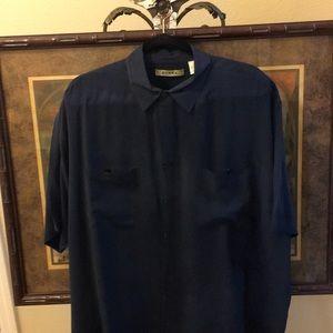Men's short sleeve silk shirt double pockets